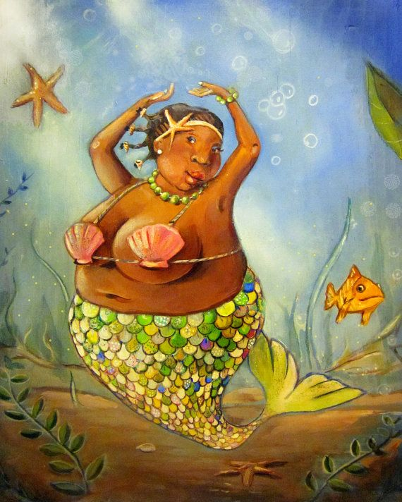 "Black bbw mermaid high quality print on canvas. Great bathroom art 8""x10"""