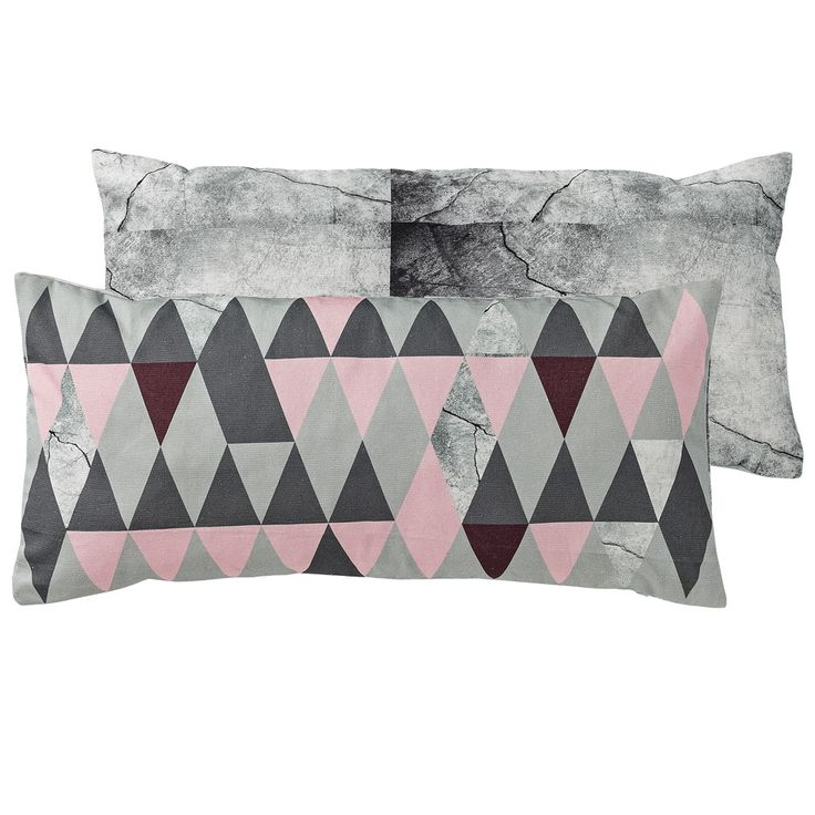 Bloomingville Kissen rosa - grau geometrisch 30x60cm
