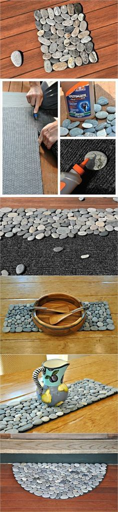 DIY Peddle Mat.  Pebble mats can be made into table runners, place mats, trivets, doormats, etc.  The possibilities are endless.  Step-by-step instructions.  If a pebble comes loose (which will happen occasionally) just hot glue it back in place.