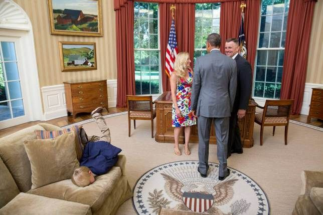 Bored child faceplants on Obama's Oval Office sofa