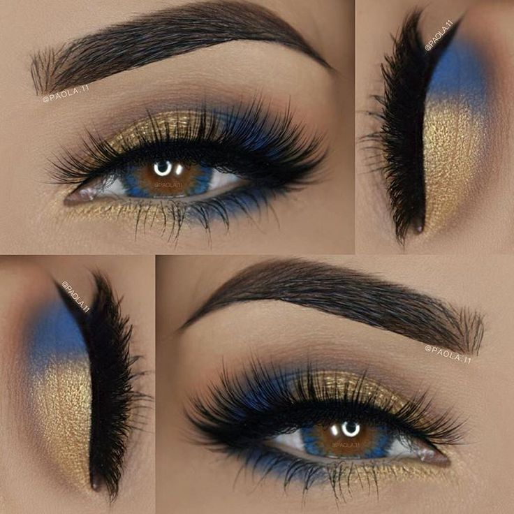 Gold and blue eye look with long lashes.