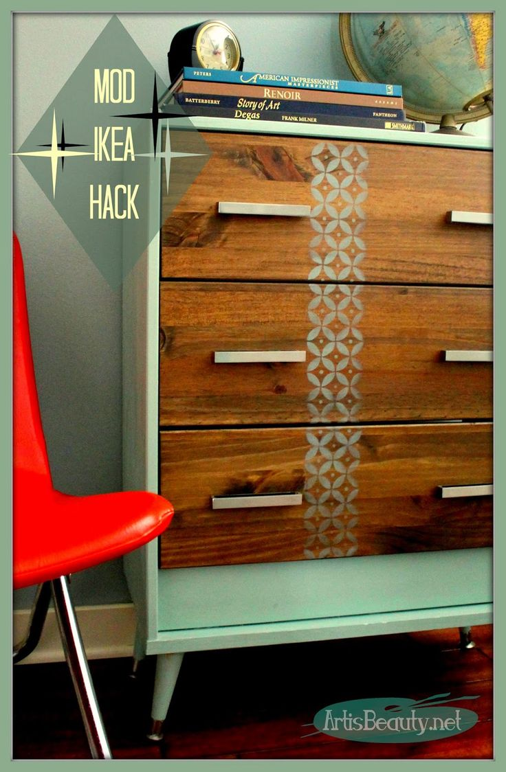 ART IS BEAUTY: Mid Century MOD IKEA Rast HACK painted furniture dresser makeover