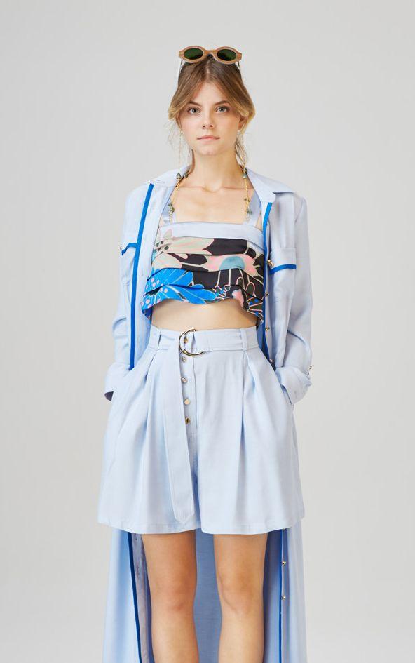 ALSOORS - long shirt  TAPOLCA - pleated crop top  CSOPAK - high waist shorts