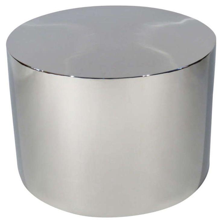 Chrome Drum Coffee Table