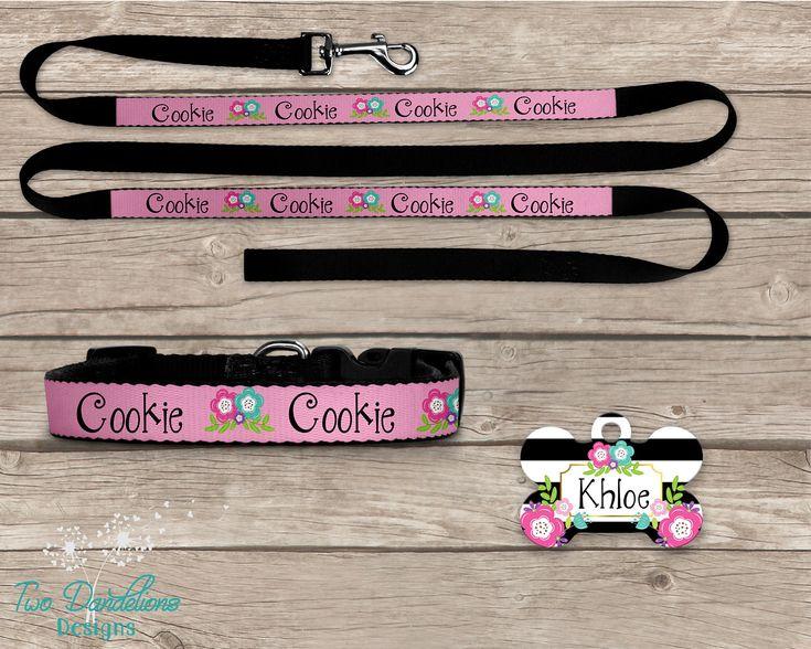 Personalized 3 pc dog Set. Floral Pet Leash, Pet Collar & Pet Tag. 3 collar sizes. Custom dog leash, custom dog collar, custom pet tag by TwoDandelionsDesigns on Etsy