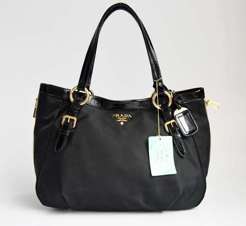 Prada 138501 black cotton Shoulder handbag replica Prada bag cheap ...
