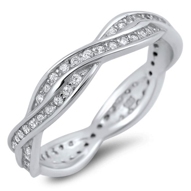 4mm Infinity Band Solid 925 Sterling Silver Full Eternity Diamond CZ Crisscross Crossover Twisted Knot Infinity Band Ring Engagement Band