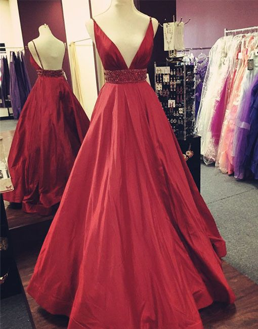 Red V-Neck Satin Prom Dress,Long Evening Dress with Waist Beaded,Red Evening Dresses