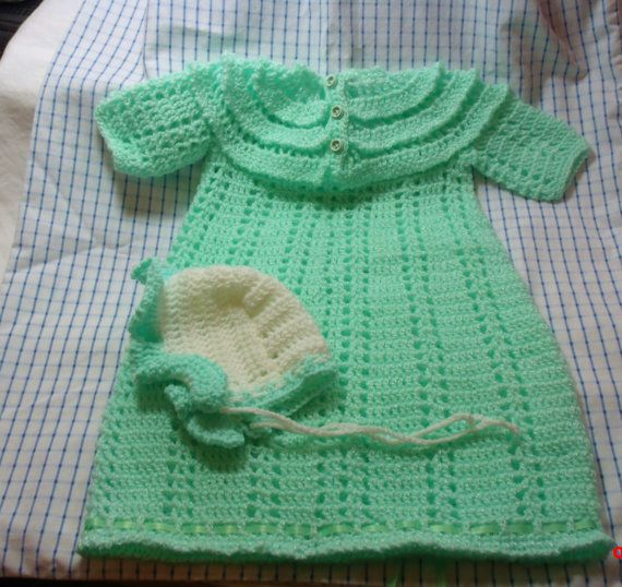 Vintage Baby Dress and Bonnet Mint Green soft baby by grampasattic, $12.00