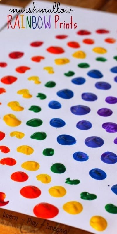 Painting rainbows with marshmallows - fine motor art for kids