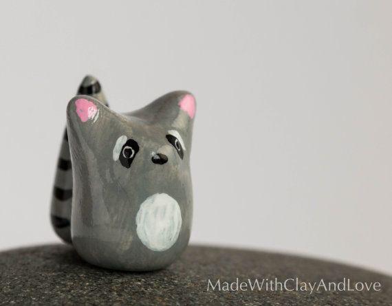 Little Raccoon  Terrarium Figurine by MadeWithClayAndLove on Etsy