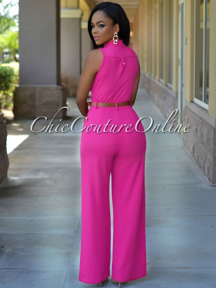 Crystal Fuchsia Button Front Belted Jumpsuit