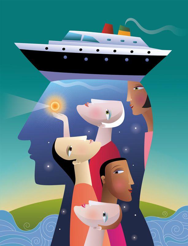 #ChristianeBeauregard #travel #conceptualillustration #cruiseship #cruise #digitalillustration #illustration #lindgrensmith