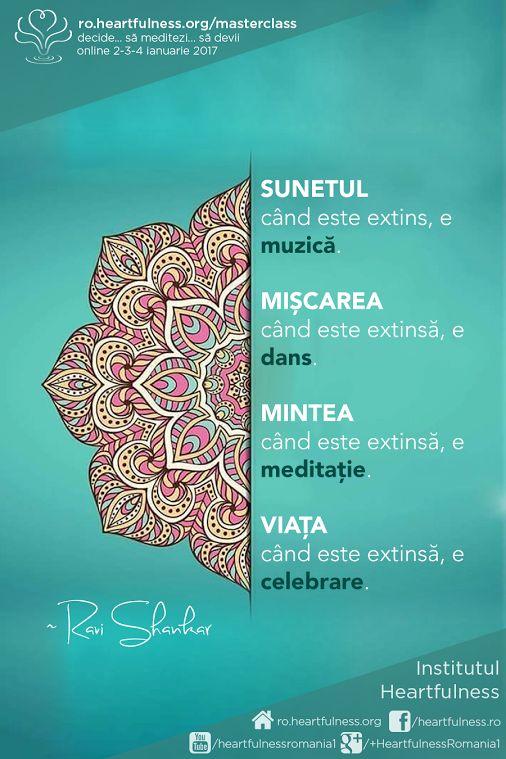 SUNETUL când este extins, e muzică. MIȘCAREA când este extinsă, e dans. MINTEA când este extinsă, e meditație. VIAȚA când este extinsă, e celebrare. Masterclass în meditație, ZIUA 1: https://youtu.be/Honh9GHxuo0  #masterclass_meditatie #masterclass_ziua_1 Meditatia Heartfulness Romania - Google+