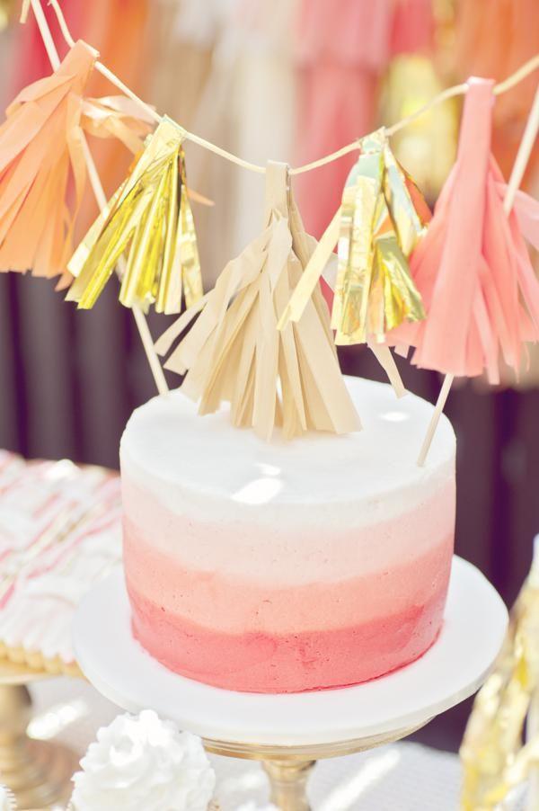 Cute smash cake and tassel topper via Kara's Party Ideas