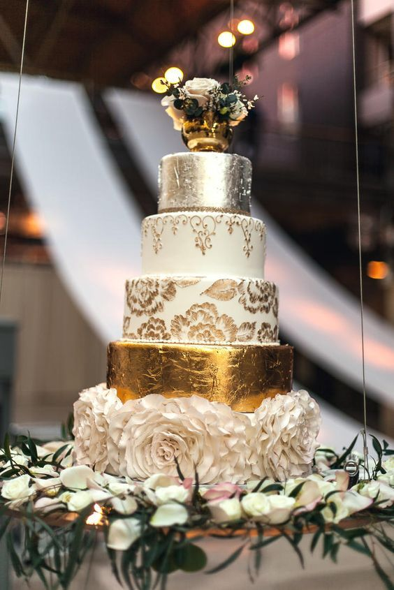 Glamorous white, gold and silver wedding cake; Featured Photographer: Rife Ponce Photography