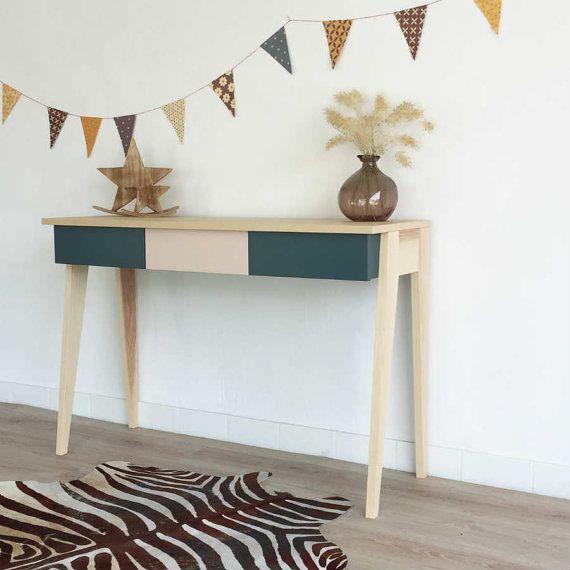 Büro Schreibtisch Konsole Holz Vintage Von ChouetteFabrique Auf Etsy