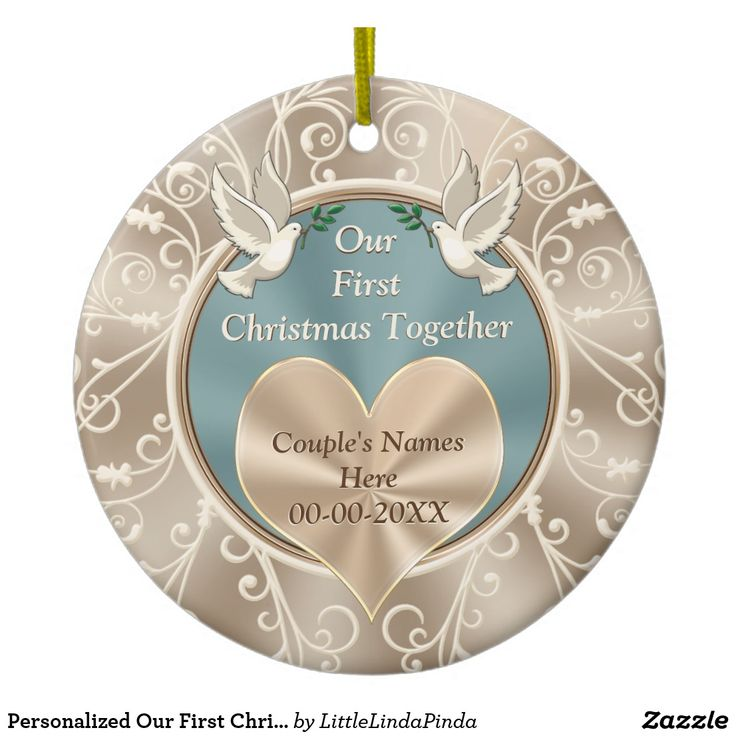 sapphire wedding anniversary invitations%0A Personalized Our First Christmas Together Ceramic Ornament