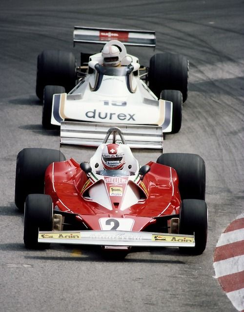 Clay Regazzoni (Ferrari 312T) leads Alan Jones (Surtees TS 19) at the 1976 Monaco GP.