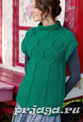 Длинная безрукавка спицами - the knitter 67
