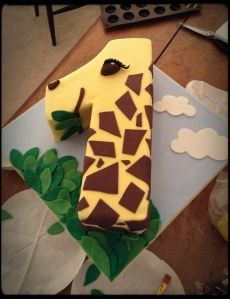 giraffe first birthday cake
