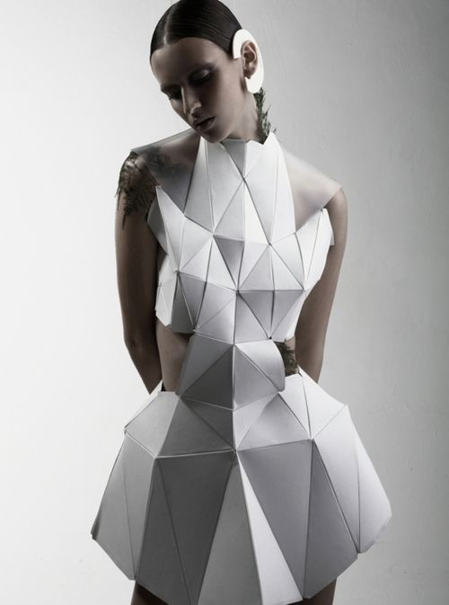Geometric Fashion - white dress with faceted 3D structure using connecting triangle shapes - experimental fashion design; wearable art // Biophelia by nola