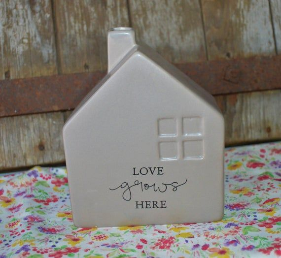 Super Cute Farmhouse Style Dark Taupe Ceramic House Vase Chimney Has Open Spot For Flowers Branches Etc Has In 2020 Ceramic Houses Milk Glass Candle Farmhouse Style