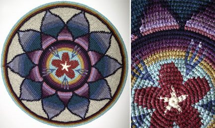 Star Flower Mandala by Stacey Glasgow    This is Tapestry Crochet, a really really cool technique. I need to find time to do more crochet, I had plans for making a hat with this technique!