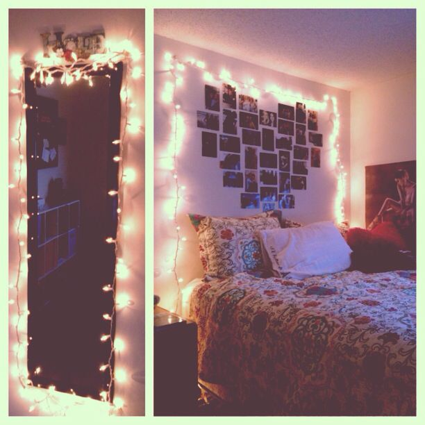 Bedroom lights and heart picture collage for Bedroom ideas hanging pictures