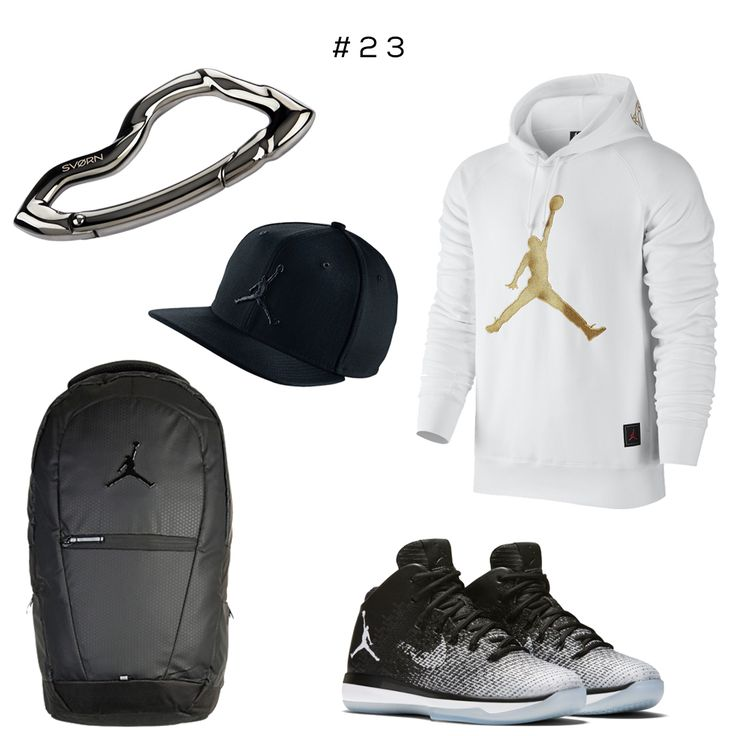 "#23 Clockwise: Arcus carabiner by @svorndesign, Jordan 23 Hat, Air Jordan 12 ""OVO"", Air Jordan 31 Fine Print Sneaker, Jordan Black Cat Backpack  #jordan #nike #sports #style #athleisure #jumpman #sneakers #bball #basketball #airjordan #michaeljordan #accessories #edc #sports #shoes #mensstyle #mensshoes #mensfashion #streetwear"