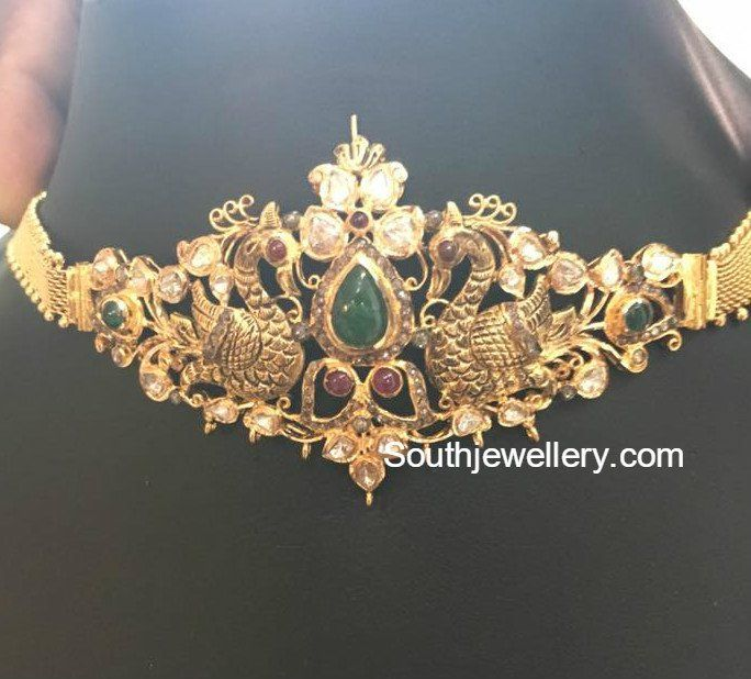 Antique Gold Peacock Choker Cum Armlet