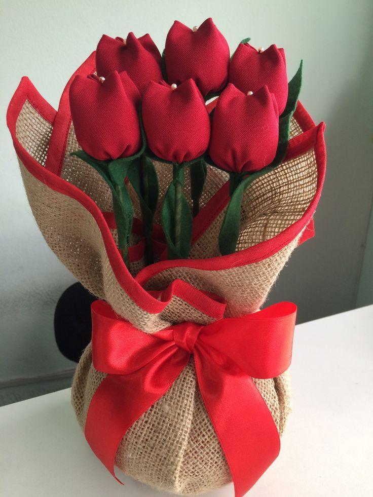 Цветы, букет тюльпанов из ткани своими руками
