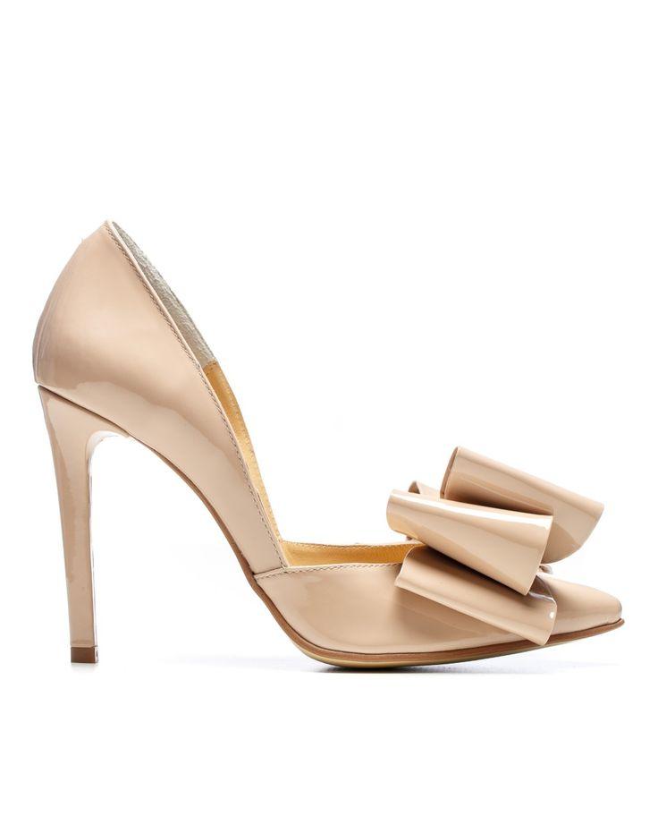 Pantofi Stiletto Nude Bow