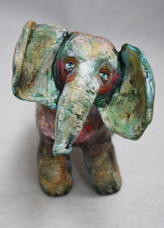Forest Totem 6 - Elephant Sculpture, Animal Friend Sculpture, Clay.