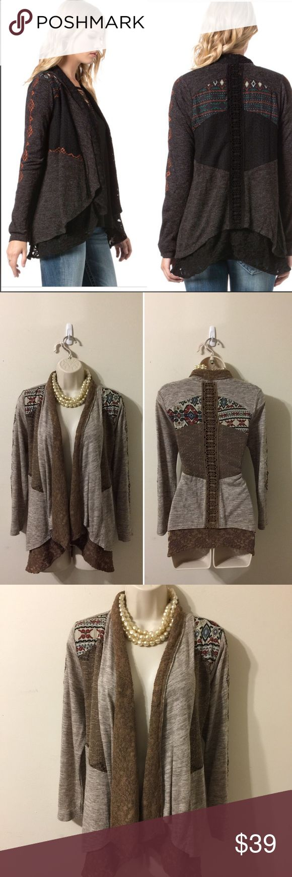 """Miss Me Plot Twist Cardigan Miss Me Plot Twist Cardigan. Good Pre-owed Condition. This cardigan is super cute and rustic. Measurements: Pit to Pit: 20"""", Sleeve: 22"""", Length: 28"""". Miss Me Sweaters Cardigans"""