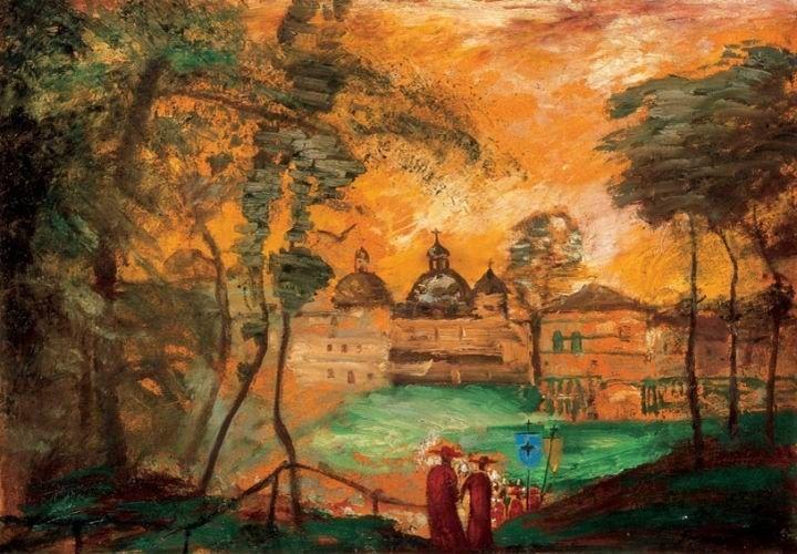 Gulácsy Lajos: (1909-1910) - ITÁLIAI TÁJ ARANYLÓ FÉNYEKKEL  1910 körül  Olaj, karton (magángyűjtemény)