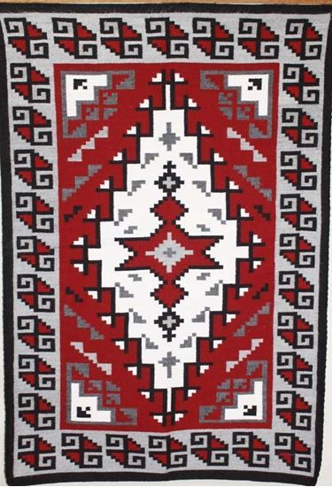 Ganado Red Antique Navajo Rug Are Unique Native American Weavings For All.  This Indian American Rugs Handcrafted By Navajo Weaver Rachelynn Watson;