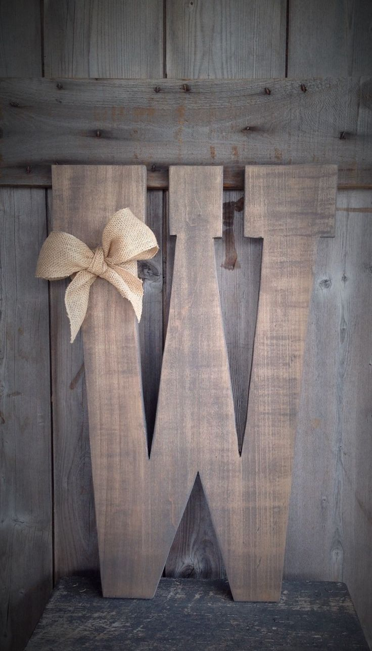 Barn Wood Letters measuring 24 inches tall with burlap bow, barn wood letters…