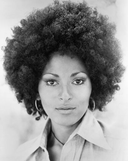 Pam Grier. In the '70s, Pam Grier made a name for herself not only for her iconic roles in Blaxploitation flicks like Foxy Brown, but also for her super-big, sexy afro.