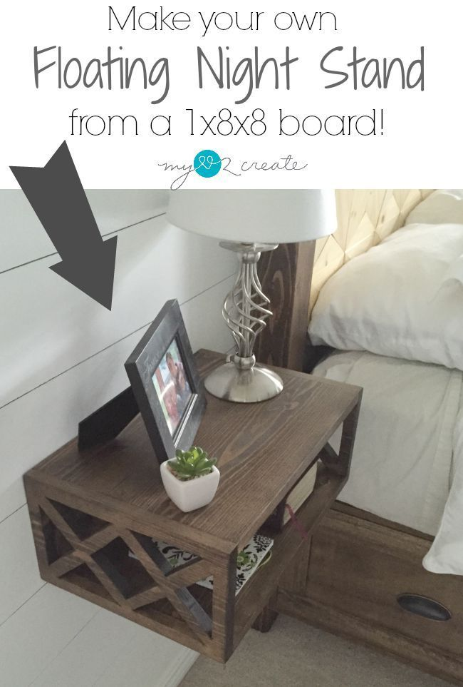 build a diy floating night stand with a double x pattern using a 1x8x8 foot common