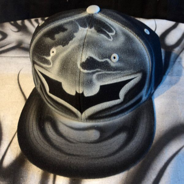 Airbrushed Batman Snapback Hat Hand Painted airbrush ($20) ❤ liked on Polyvore featuring accessories, hats, snapback hats, snap back hats, adjustable snapback hats and adjustable hats
