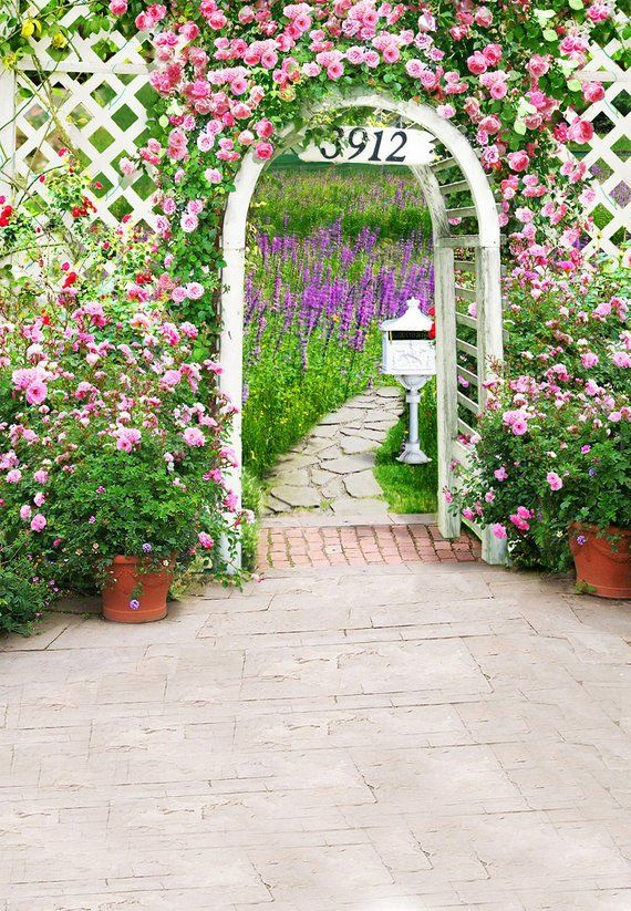 Wedding Garden Photography Backdrops Flowers Arched Door Photo
