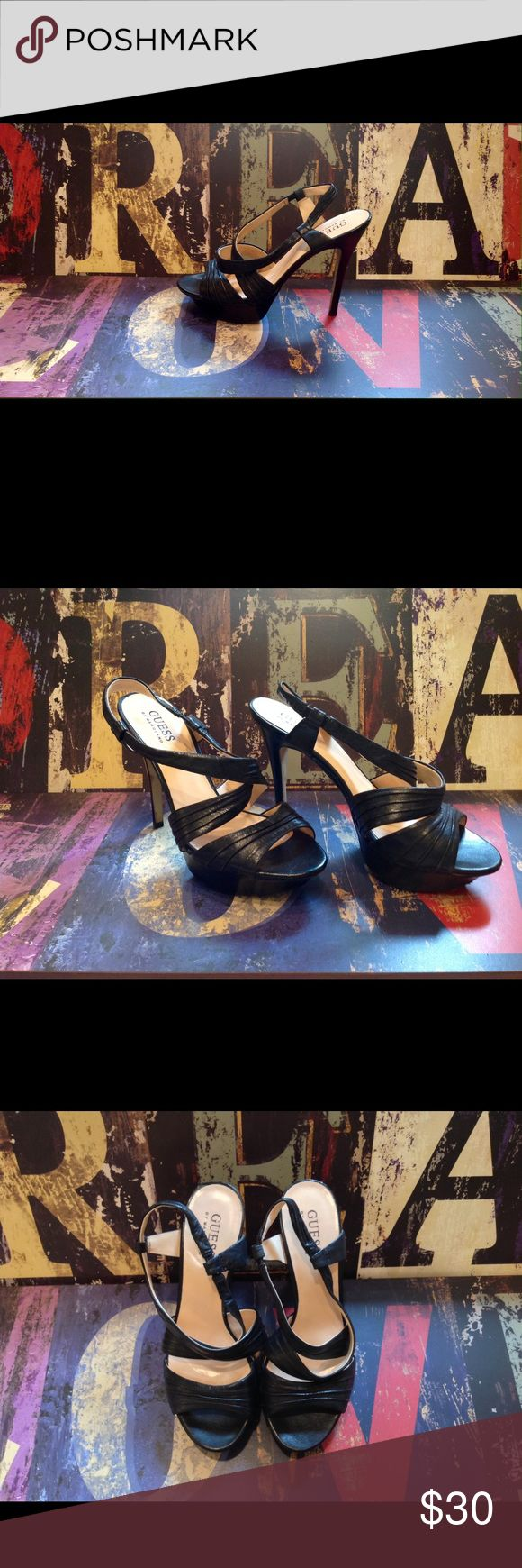 "GUESS Black Strap Heels 👠 GUESS Strap Heels 👠 Criss Cross Slip On with a 4 3/4"" Heel and 1"" Platform, Genuine Leather, EUC (worn half dozen times), some scuffing on soles ... Look great with skinny jeans or little black dress! Guess Shoes Heels"