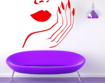 Manicure Wall Decals ragazza mano Decor di WallDecalswithLove