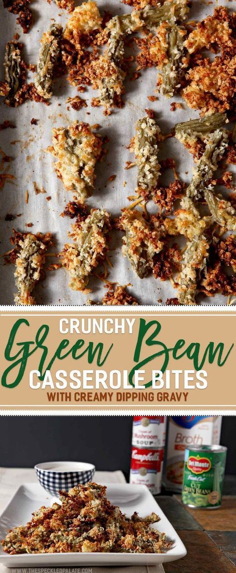 Want to make the ULTIMATE Friendsgiving appetizer? Crunchy Green Bean Casserole Bites with a Creamy Dipping Gravy is the recipe you're looking for! Transform traditional green bean casserole ingredients - Del Monte®️️️️️️ Blue Lake®️️️️️️ Cut Green Beans, Campbell's®️️️️️️ Cream of Mushroom Soup and Swanson®️️️️️️ Chicken broth - into a handheld appetizer and dipping gravy that are sure to wow. Ready in less than 50 minutes, these easy bites are scrumptiou