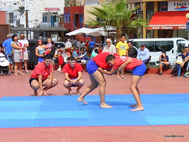 La Lucha Canaria - Canarian wrestling - a special demonstation for El Día de Canarias, but very popular throughout the islands.