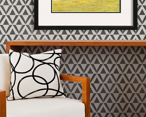 Our Asmir Triangle Raven + Lily Wall Stencil is inspired by the natural beauty of Ethiopia, Africa and has an Art Deco vibe that makes it