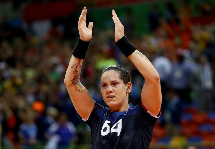 Alexandra Lacrabere #64 of France celebrates a victory over the Netherlands during the Women's Handball Semi-final at the Future Arena on Day 13 of the 2016 Rio Olympic Games on August 18, 2016 in Rio de Janeiro, Brazil.