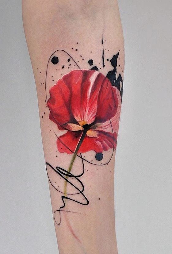 Dope Indulgence watercolor poppy flower tattoo