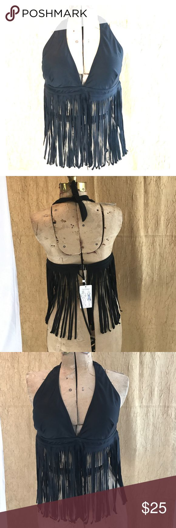 Fringe Bikini Bathing Suit Top Black fringe bikini bathing suit top, light removable pads, Halter style with clamp back closure, never worn, top only, no bottoms Tribear Swim Bikinis